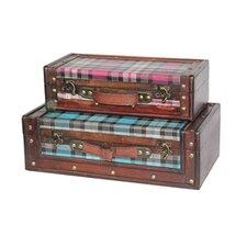 2 Piece Plaid Suitcase Set