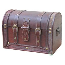 Antique Style Wood and Leather Trunk with Round Top
