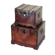 <strong>Quickway Imports</strong> Old Style Treasure Chest in Antique Cherry (Set of 2)