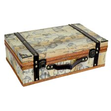 Old World Map Wooden Small Trunk