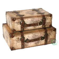Old World Map Leather Vintage Style Suitcase Set of 2