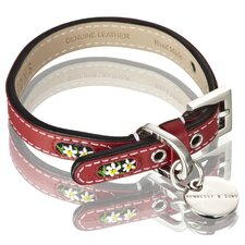 <strong>Hennessy & Sons</strong> Edelweiss Handmade Leather Dog Collar with Swiss Edelweiss inserts in Swiss Red with White Flowers