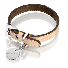 Natural LV Handmade Vegetable Leather Dog Collar