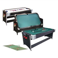 3-in-1 Black Pockey 7' Game Table Tennis Table