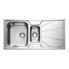 Korona 1.5 Bowl Inset Sink and Drainer in Stainless Steel