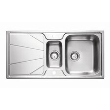 Korona Double Bowl Inset Sink and Drainer in Stainless Steel
