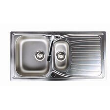 Alto 1.5 Bowl Inset Sink and Drainer in Brushed Steel
