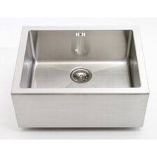 Belfast Single Bowl Sit On Sink in Brushed Steel