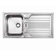 Montreux Single Bowl Inset Sink and Drainer in Brushed Steel