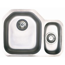 Echo 1.5 Bowl Inset Sink and Drainer in Brushed Steel