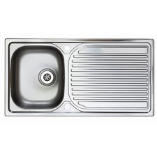 Aegean Single Bowl Inset Sink and Drainer in Satin Steel