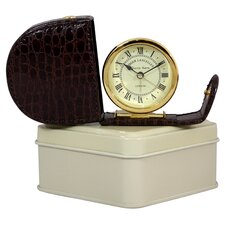 Fold Away Alarm Clock with Imitation Crocodile Case