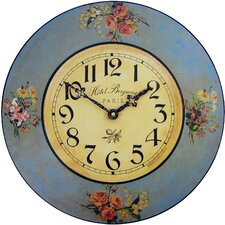 Blue Floral Hotel Wall Clock