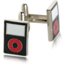 MP3 Player Cufflinks in Black / Red
