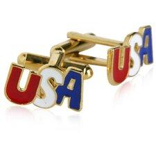 Patriotic USA Cufflinks in Gold