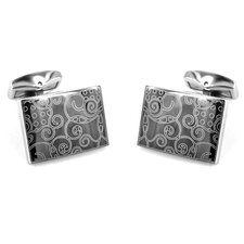 <strong>Cuff-Daddy</strong> Stainless Steel Art Cufflinks in Black