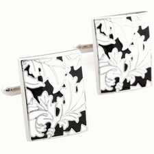 Floral Cufflinks in Black / White