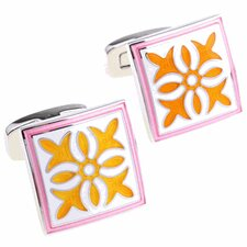 Enamel Cufflinks in Pink / Yellow
