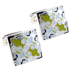 Fleur di Lis Cufflinks in Blue / Green