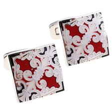 Fleur di Lis Cufflinks in Red