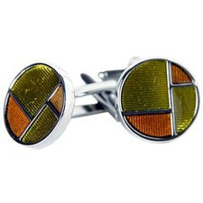 Retro Cufflinks in Yellow / Chestnut Brown