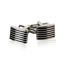 <strong>Cuff-Daddy</strong> Ribbed Cufflinks in Black