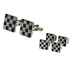 Checkered Style Cufflinks and Studs Set