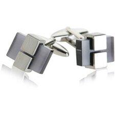 Clamped Gray Glass Cufflinks