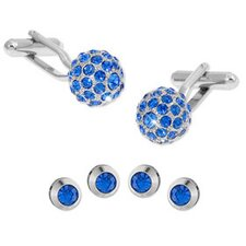 Crystal Ball Cufflinks Studs Set in Blue