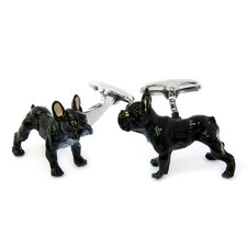 Swarovski Crystal Painted French Bulldog Cufflinks