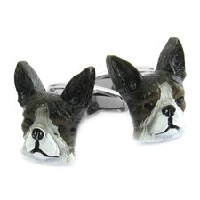 Swarovski Crystal Painted Boston Terrier Cufflinks