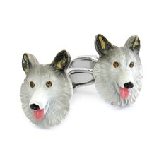 Swarovski Crystal Sable Collie Cufflinks
