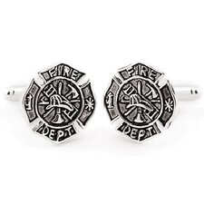 Fireman Shield Cufflinks in Sterling Silver