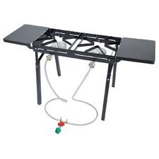 Double Burner Outdoor Stove with Folding Side Shelves