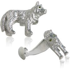 Wolf Cufflinks with Swarovski Eyes (Set of 2)