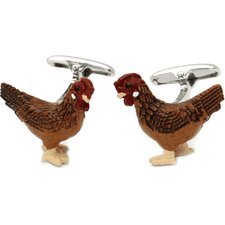 Rooster Cock Cufflinks Hand Painted