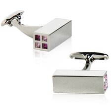 Austrian Crystal Highlights Cufflinks in Purple (Set of 2)
