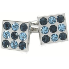 Crystal Bingo Board Cufflinks in Aquamarine and Montana