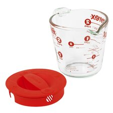 Prepware 2-Cup Measuring Cup with Red Plastic Cover in Clear