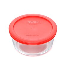 Storage Plus 4-Cup Round Storage Dish with Red Plastic Cover