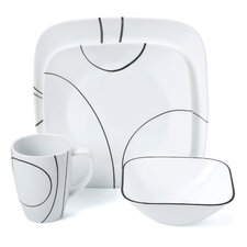 Square Simple Lines 16 Piece Dinnerware Set