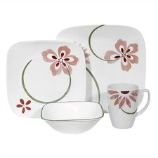 Square Pretty Pink 16 Piece Dinnerware Set