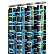 Prints Polyester Wavy Plaid Shower Curtain