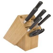 Wasabi Black 7 Piece Cutlery Block Set