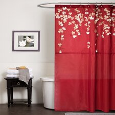 Flower Drop Polyester Shower Curtain
