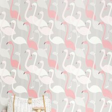 <strong>Kimberly Lewis Home</strong> Flamingo Dance Flocked Wallpaper
