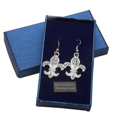Bret Roberts Round Cut Fleur de Lys Drop Earrings