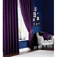 Designer Plain Lined Pencil Pleat Curtain Set