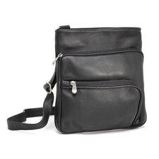 Three Zip Vertical Cross Body Bag