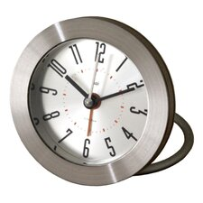 <strong>Bai Design</strong> Diecast Round Travel Alarm Clock with Bold Arabic Numerals